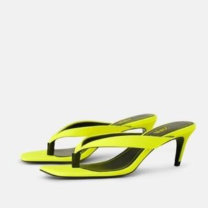 Zara NEON KITTEN HEEL THONG SANDALS Square Toe NEW